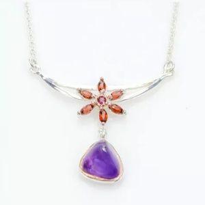 Cute amethyst garnet necklace 17.75 inches long